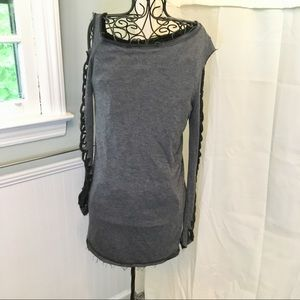 LUXE Charcoal Lace Up Sleeve LS TUNIC SZ M